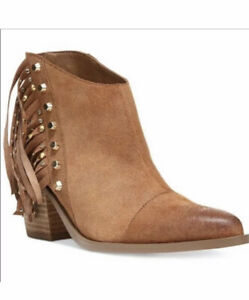 Western Style Cute Suede FRINGED BOOTIE BOOTS , Size 10  Women,  Worn Once