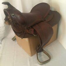 """Vintage high back JC Higgins 15"""" western saddle"""