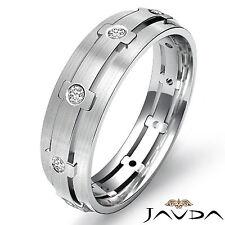 Eternity Wedding Band Round Bezel Diamond Mens Dome Ring 14k White Gold 0.25Ct