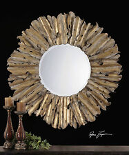 "LARGE 43"" FORGED HAMMERED AGED GOLD LEAF METAL ROUND BEVELED SUN WALL MIRROR"