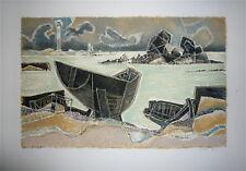 Dayez Georges Lithographie signée numérotée Bretagne cubiste Mourlot
