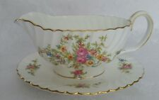 MINTON ENGLAND LORRAINE GRAVY BOAT WITH ATTACHED UNDERPLATE  FLORAL W/GOLD TRIM