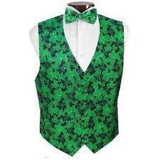 Saint Patrick's Day Silver Sparkle Shamrocks Tuxedo Vest and Bowtie