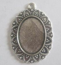 2PCS Antique silver Alloy Cameo Setting Pendant Accessory Inner 18mmX25mm #3072