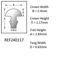 Sintoms 18% Nickel Silver Repair Fret Wire 2.5mm. Set of 12 pieces, Tang 0.63mm