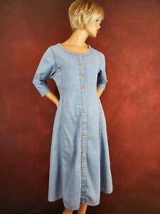 Bill Blass Women's 3/4 Sleeve Button Front A-Line Midi Modest Denim Dress 14P