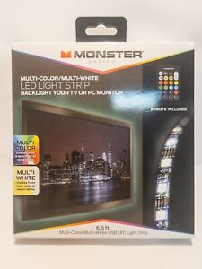 LOT OF 2 | Monster LED Light Strip with Remote, Multi-Color/Multi-White, 6.5 ft