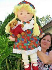 Large Vintage Tb Trading Company Girl w/Teddy Bear Plush Stuffed Animal Doll