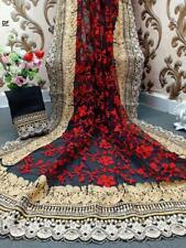 Black Designer Net Saree Hand Machine Embroidered Lace Border Diamond Work