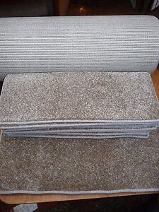 56 x 21cm 12x STAIR PADS, BROWN FLECK SOFT PILE CARPET WITH LARGE RUNNER #2041