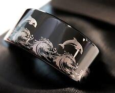 Tungsten Ring Wedding Band Black Tungsten Ring Ocean Wave Dolphins in Ocean Ring