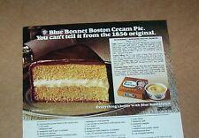 1982 print ad -Blue Bonnet margarine Boston Cream Pie recipe vintage Advertising