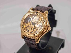 Vtg 1990's - Mechanical Hand Wind Skeleton 38mm Unisex Watch Gold Tone BG-148
