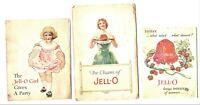 LOT OF 3, JELLO BOOK BOOKLETS, CIRCA 1920, VINTAGE, RECIPES, RULES, FUN, CHARM