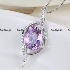 Edelstein Schmuck Amethyst Halskette Anhänger Diamant Stein Silber für sie A1