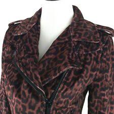 Bebe Women's Leopard Print Moto Jacket Size Medium Burgundy New $159