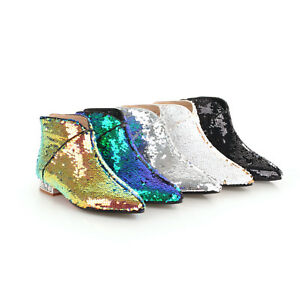 Women's Back Zip Ankle Boots Rhinestones Low Cuban Heel Sequin Pointed Toe Shoes