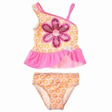 NWT Girls 2T FLAPDOODLES  2pc Orange Floral Sequin Swimsuit