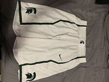 RARE - Game Worn - Michigan State Basketball Game Shorts - White - Sz 38