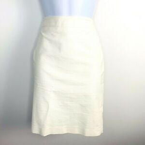 Ann Taylor Petite Womens Skirt Sz 6P White Pencil Straight Knee Length V60