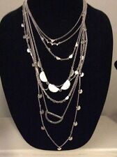 LUCKY BRAND LUCKY LAYERS NECKLACE, CLEAR QUARTZ, MULTI SILVER STRANDS $89 LK17a