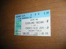 1996 MLB vintage ticket stub, Cleveland Indians vs Toronto Blue Jays @ Jacob Fie