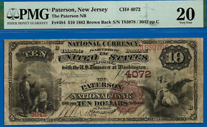 TOP POP 1/0 CH # 4072 - 1882 $10 B/B (( FINEST Known - Paterson, NJ )) PMG 20