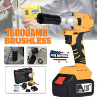 128V 16000mAh Electric Cordless Impact Wrench Brushless Gun Driver Tool 2Battery