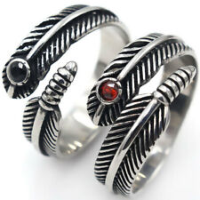 Men's Vintage Feather Ring Stainless Steel Black Agate / Garnet Ring Gothic Punk