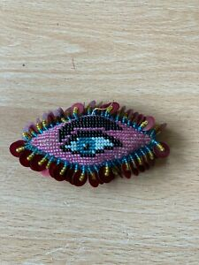 Rare Antique/Victorian Embroidered Micro Beaded Eye Shaped Pin Cushion