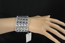 New Women Silver Elastic Size Metal Pyramid Punk Bracelet Rocker Fashion Jewelry