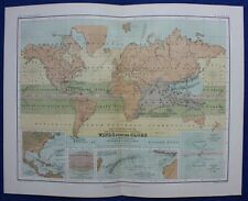 WORLD, WINDS, STORMS, HURRICANES, original antique atlas map, A.K Johnston, 1853