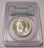 1963 D Franklin Half Dollar MS64 FBL PCGS