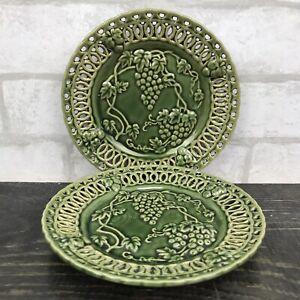 "hosley potteries green decorative 6"" plates set of 2 grape vines"