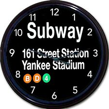 New York City Yankee Stadium 161 Street Station Subway Sign Wall Clock Yankees