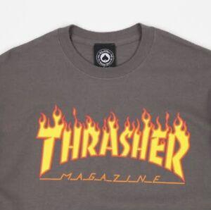 Thrasher - Flame Logo Mens Tee Charcoal Size Medium Barely Worn