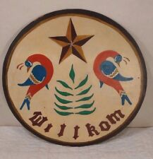 "Hand Painted Vintage Primitive Star Pennsylvania Dutch Welcome ""Willkom"" Sign"