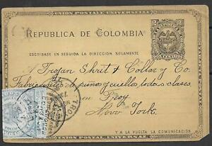 Colombia covers 1902 2C Postal Stationery Baquilla over Troy to New York
