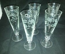1950s/1960s Etched Pilsner/Champagne Glasses Beer Wine