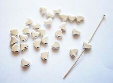 30 Heart Spacer Beads  - 6mm, Silver Plated