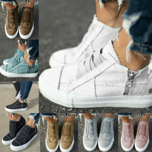 Sneakers Womens Outdoor Sports Shoes Slip On Zip Flats Casual Trainers Shoes