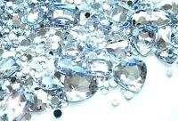 50g Mixed Flatback 3D Gems Rhinestones Jewels Crystal Ice Mix DIY Kit Gemstones