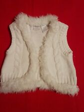 Toddler Koala Kids White Knitted Sweater Vest Faux Fur Size 24 Months/ 2T