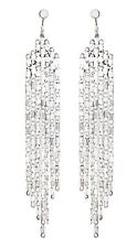 Clip On Earrings - silver plated dangle earring with linked strands - Daria