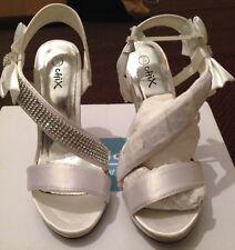 Women's White Satin With Diamanté Size 3/36 Platform BNWT