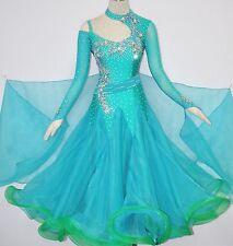 Women Competition Ballroom Dance Dress Bluish Green Stiff Net hemline Modern XXL