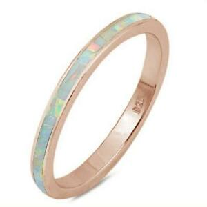 Rose Gold Plated White Opal Band .925 Sterling Silver Ring