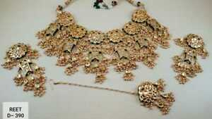Indian Kundan Gold Plated High Quality Choker Necklace Earrings Jewelry Set 8