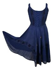 Midi Boho Summer Dress Embroidered Corset Fit & Flare Navy One Size 8 10 12 14