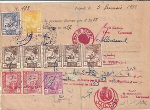 LIBYA , Document with lot Revenue Stamps 1952